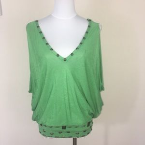 Bebe Green Top with studs